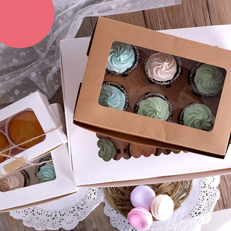 10PCS 2/4/6Hole Kraft Packaging Paper Cupcake Box Muffin Wedding Party Foldable Box Fixed Gift Box Gift Bags & Wrapping Supplies