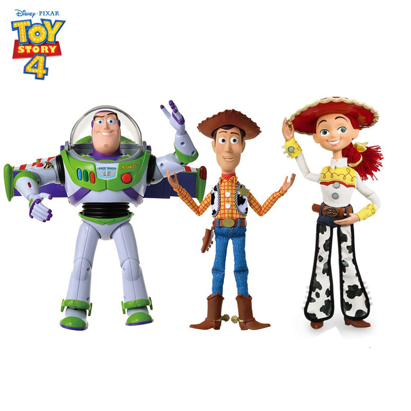 Toy Story 4 Talking Woody Jesse Buzz Buzz Light Year Bo Voyeur Doll Moveable Puppet Collectible Children's Toy Birthday Gift 16'