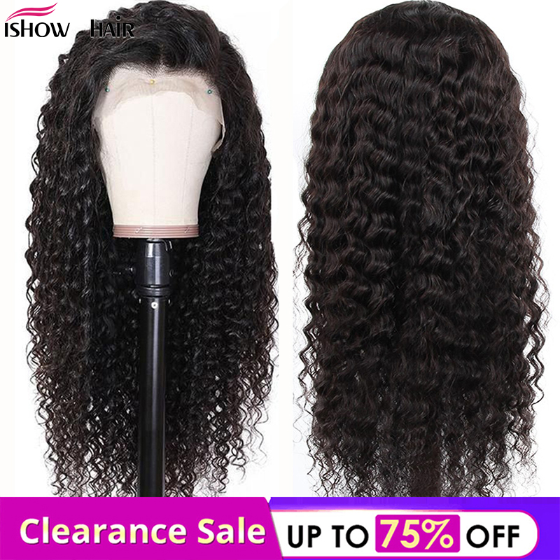 Ishow 4x4 Deep Wave Lace Closure Wigs Malaysian Remy Human Hair Wigs Pre-Plucked With Baby Hair Deep Wave Lace Wigs