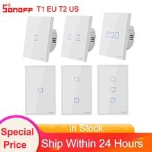 "Sonoff TX T1 האיחוד האירופי T2 ארה""ב 1 2 3 כנופיית Wifi מתג בית חכם 433/RF קיר אור מגע מתג באמצעות Ewelink עובד עם Alexa Google בית"