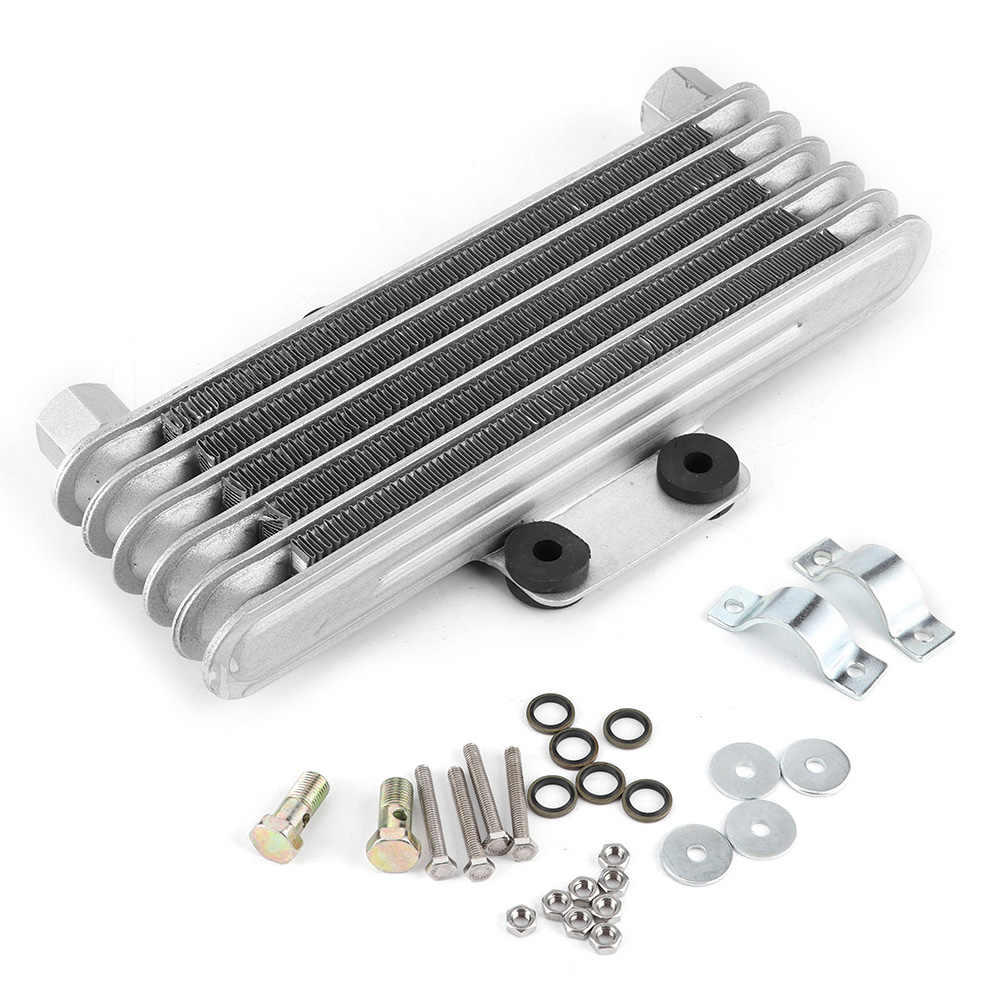 Silver Dirt Bike ATV Outbit Bike Oil Cooler Cooling Radiator Engine Kit Universal for 100CC-250CC Motorcycle