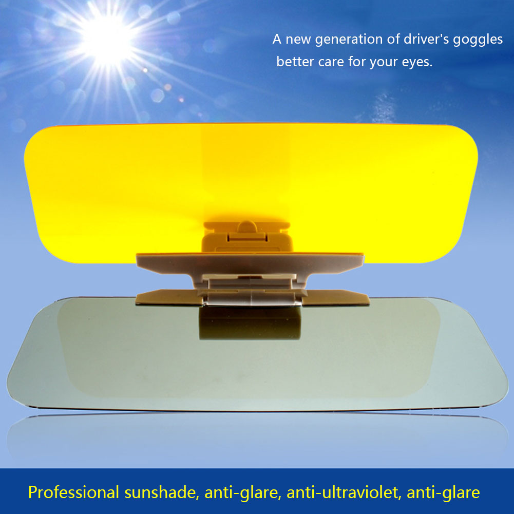 Car Sun Visor 2-in-1 Flip Down Anti-Glare Eyepiece Day Night Vision Saloon Car Driving Mirror Clear View Sunlight Visor