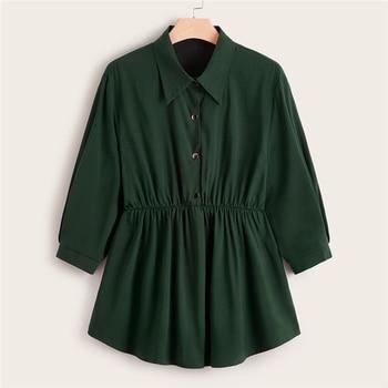 Plus Size Abaya Green Button Front Smock Peplum Long Blouse