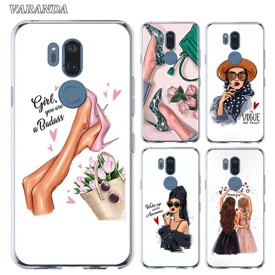 Vogue Boss Girl High Heels Silicone Phone Case For LG K40 K40s K41s K50s K51s K61G6 G7 G8 Thinq Q51 Q60 Q61 Q70 Soft Shell Cover