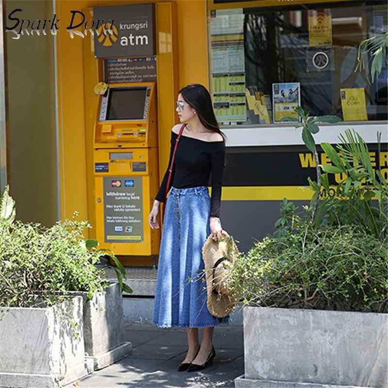 Sparkdora calças de brim saia de cintura alta feminina botão para baixo plissado denim saias plus size longo casual a linha barato sexy meninas saias
