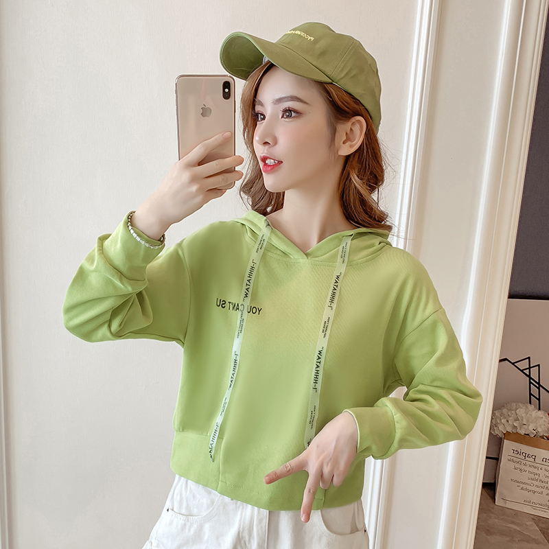 Autumn Cropped Hoodies Women 2019 New Korean Edition Long Sleeve Letter Print Hooded Casual Sweatshirt Pullovers Harajuku Tops 89
