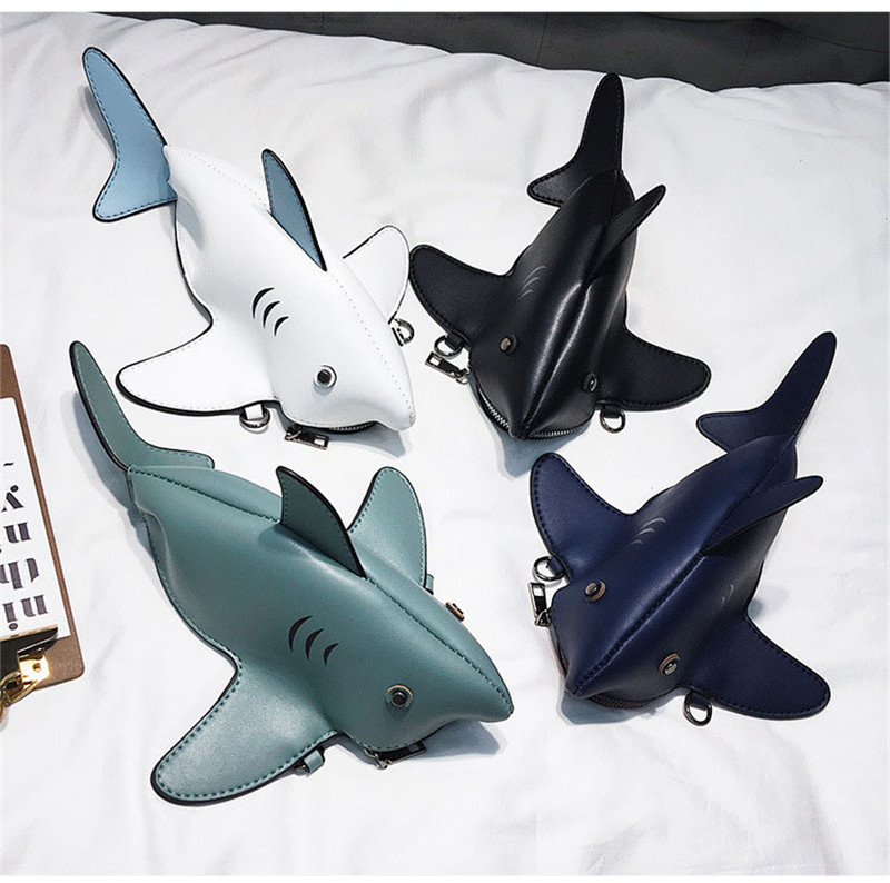 Funny Shark Women Shoulder Bags Cartoon Chain Messenger Bag Ladies Lovely PU Leather Phone Bag Crossobdy Bags Bolsas Femininaf
