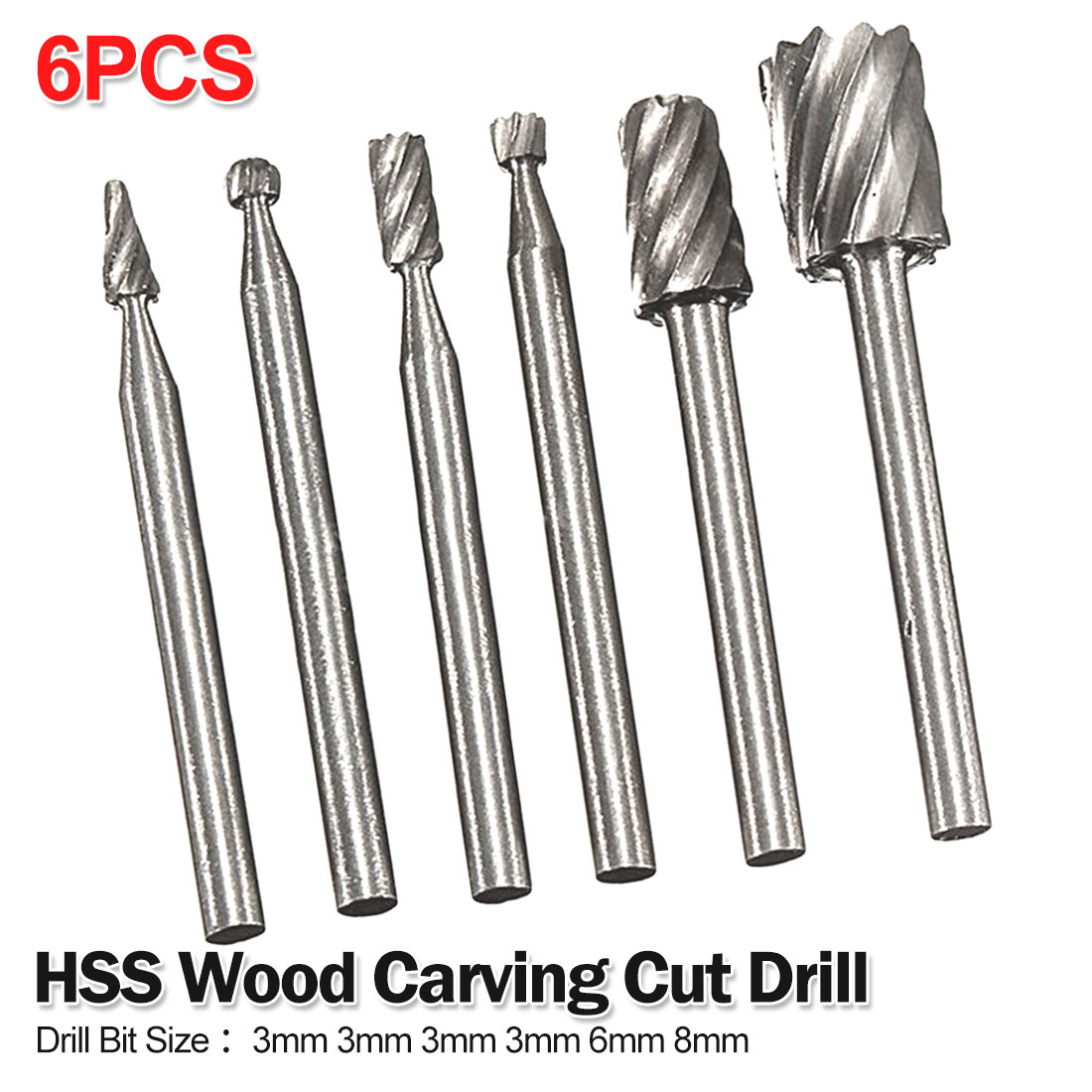Rotary Tool 6pcs HSS Drill Bit Set Cutting Routing Grinding Bit Milling Cutter For Woodworking/Plastic 3mm 3mm 3mm 3mm 6mm 8mm
