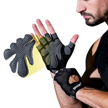 Skanguke 1 Pair Anti-Slip Cycling Gloves Half Finger Men Women Gym Weight Lifting Breathable Silicone Fitness Sports Gloves high quality sports gym gloves wrist weights fitness men gloves half finger breathable anti skid silica women gloves
