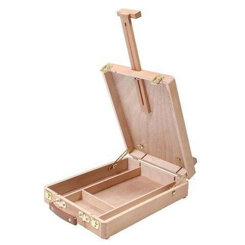 cavalete artista artesanato com caixa de madeira integrada arte desenho pintura mesa