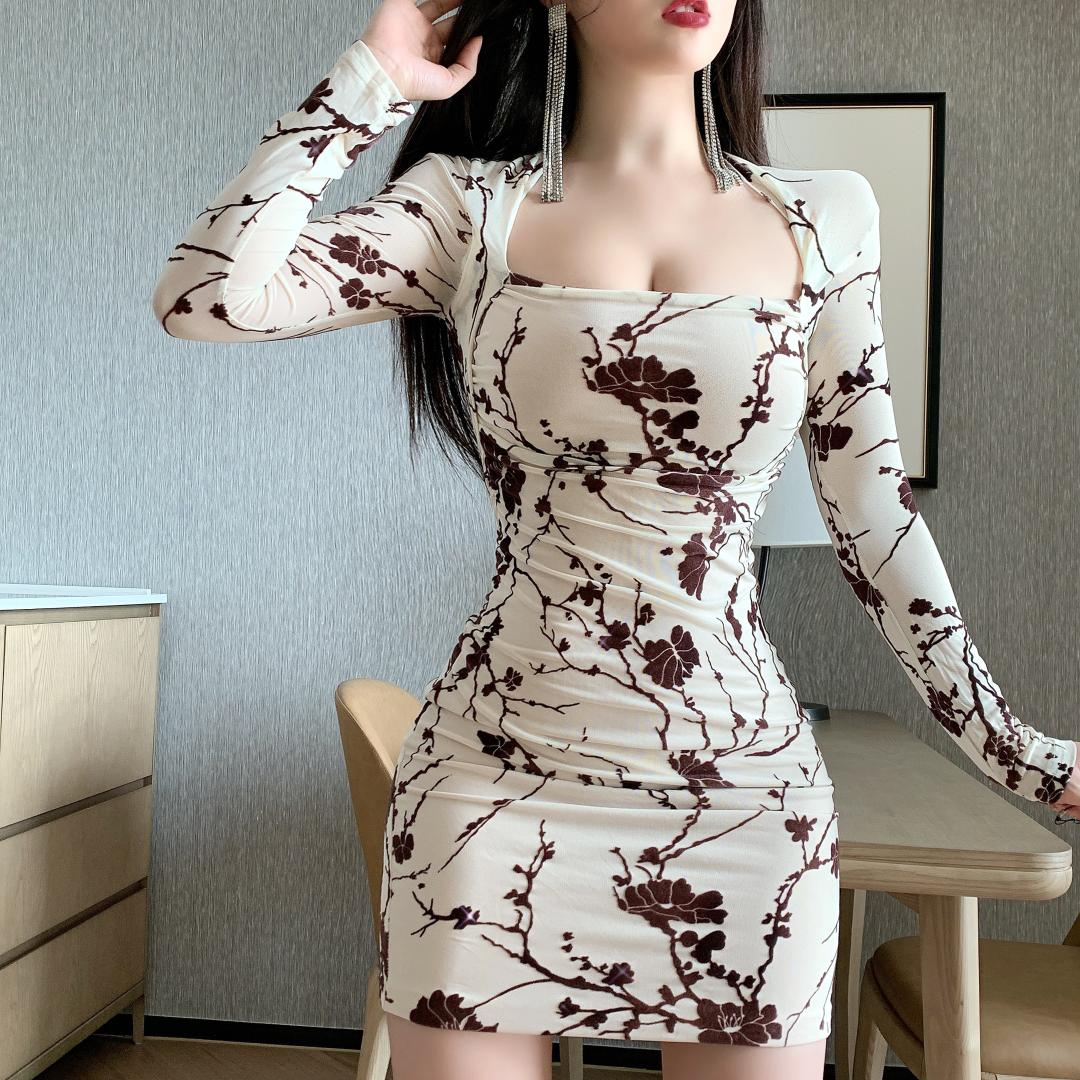 Deiver New Fashionable European And American Mesh Print Low Chest Sexy Temperament Package Hip Long Sleeve Dress Miniskirt