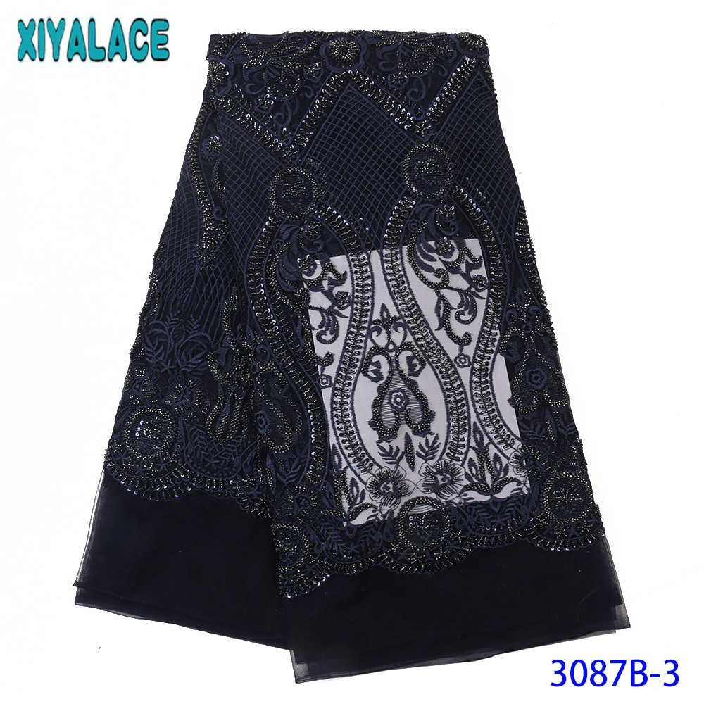 Royal Blue Beaded Lace Fabrics African French Tulle Mesh Lace Fabric Luxury Heavy Handmade Beads Lace Nigerian Net Lace KS3087B