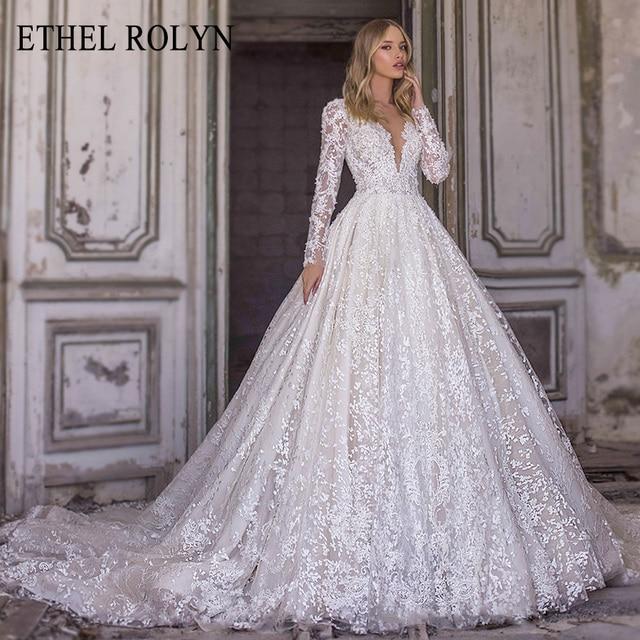 ETHEL ROLYN A-Line Lace Wedding Dress 2021 Romantic V-neck Long Sleeve Beading Appliques Bride Dresses Princess Bridal Gowns 1