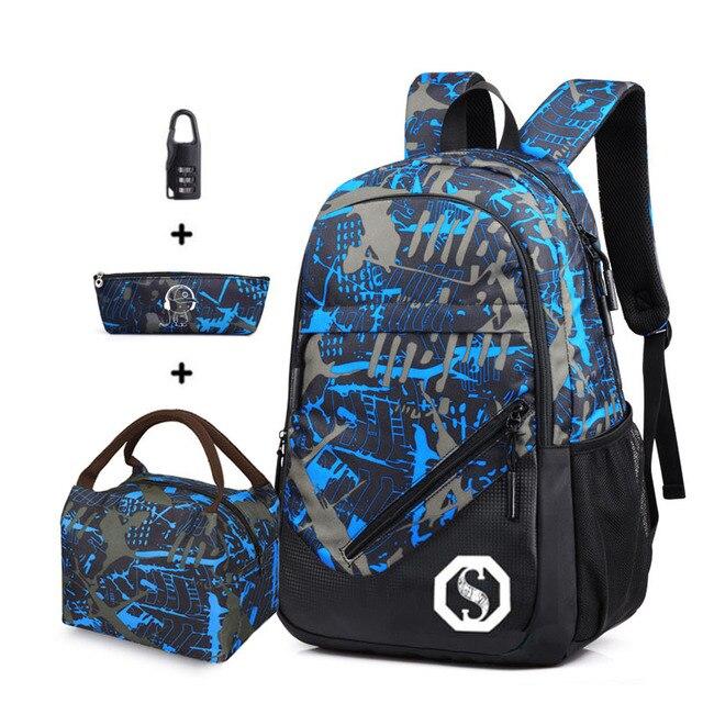 Children school bags for teenagers boys big capacity blue camouflage school backpack waterproof satchel kids book bag mochila