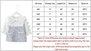 Image 5 - בנות שמלה חדשה סתיו אנגליה סגנון בנות בגדים ארוך שרוול משובץ ילדי בגדי ילדים שמלה עם פנינים 0 2Y