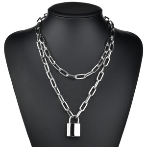 Double layer Heart Round Lock Chain necklace punk Sweater Long chain neck pendant necklace women fashion gothic jewelry