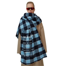 Winter 2019 European and American AC New Type Colour Chequered tassel Imitated Cashmere Female Scarf Warm Lady Shawl