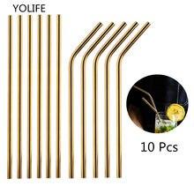 Pailles en métal réutilisables, lot de 10 pièces/ensemble Tubes en acier inoxydable 215x6mm pour boisson, vente en gros