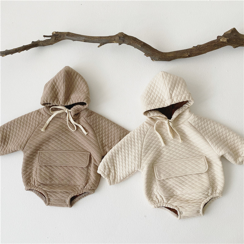 MILANCEL  Winter Baby Bodysuits Warm Lining Infant Girls Bodysuits Long Sleeve Toddler Boys Outfit