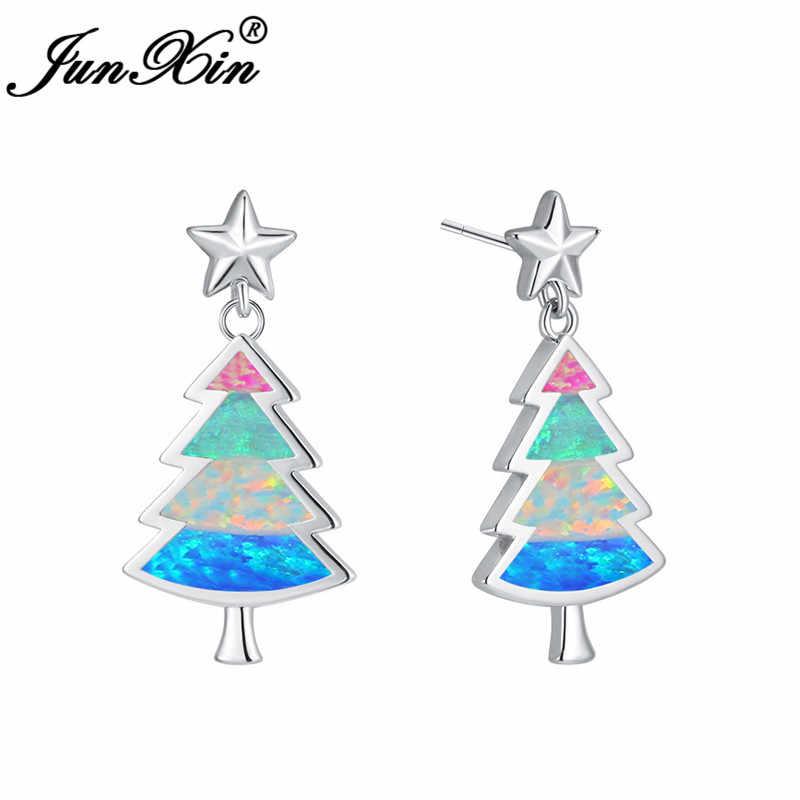 בנות ייחודי עץ חג המולד אוזן Stud עגיל 925 כסף צבע מיסטיק קשת אש אופל חמוד כוכבים לנשים חתונה תכשיטים