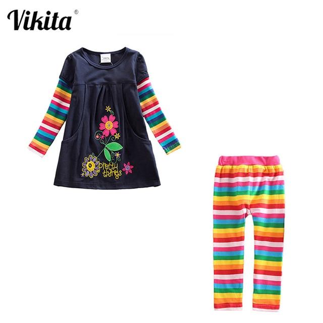 בנות בגדים סטי בנות בגדים באורך הברך שמלה + חותלות ילדי בגדי חליפות דפוס הדפסת Vestidos + מכנסיים חליפות 3 8Y