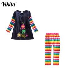 Ensemble vêtements pour filles, robe longueur genou + Leggings, tenues imprimées à motifs, pantalon, 3 8 ans