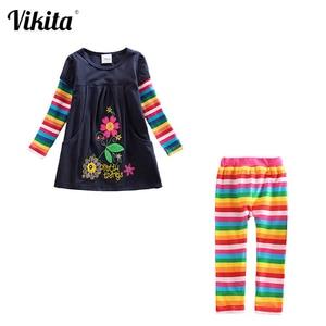 Image 1 - Meninas conjuntos de roupas meninas roupas até o joelho vestido + leggings crianças roupas ternos padrão estampado vestidos + calças ternos 3 8y