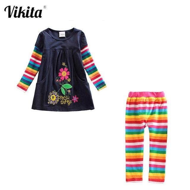 Meninas conjuntos de roupas meninas roupas até o joelho vestido + leggings crianças roupas ternos padrão estampado vestidos + calças ternos 3 8y
