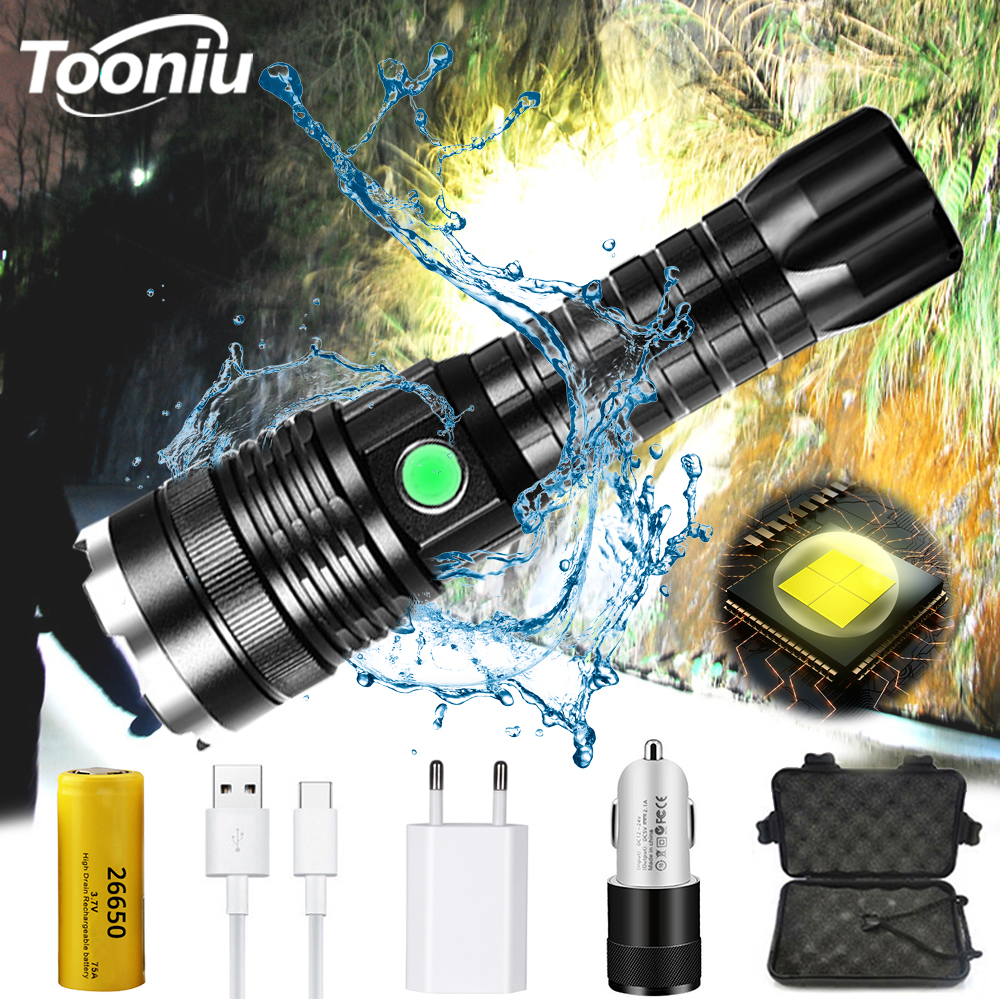 Powerful XHP50 LED Flashlight USB Charging Waterproof Zoom <font><b>4</b></font> Modes Tactical Torch Using <font><b>26650</b></font> Battery for Outdoor Lighting image