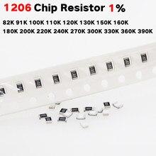 200 Chip de resistor SMD 1206 1% K 91 82 Pçs/lote K 100K 110K 120K 130K 150K 160K 180K 200K 220K 240K 270K 300K 330K 360K 390k 1/4w