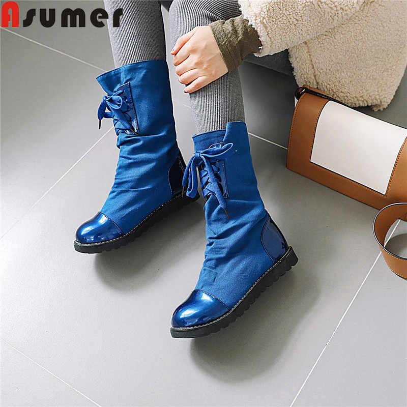 ASUMER büyük boy 34-43 moda yarım çizmeler kadınlar için yuvarlak ayak kayma düz bayan botları rahat sonbahar kışlık botlar