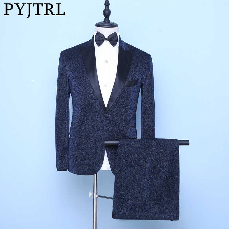 PYJTRL New Mens Shiny Navy Blue Pieces Set Suits Wedding Groom Prom Dress Tuxedos Singers Costume Homme Latest Coat Pant Designs