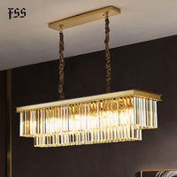 Fss Gold Rectangle Crystal Chandelier Lighting For Dining Room Chandeliers Led Lamps Indoor Light Fixtures