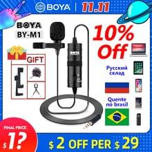 ميكروفون BOYA BY M1 6 متر كليب على Lavalier صوت صغير 3.5 مللي متر طوق مكثف التلبيب Mic لتسجيل كانون/آيفون DSLR كاميرات