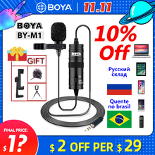Microphone BOYA BY M1 6m Clip on Lavalier Mini Audio 3.5mm Collar Condenser Lapel Mic for recording  Canon / iPhone DSLR Cameras