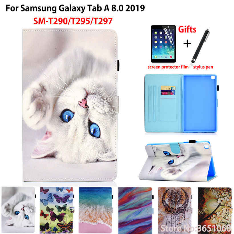 Case For samsung galaxy tab A 8.0 2019 SM-T290 SM-T295 T295 T297 Cover Funda Tablet Cartoon Cat PU Leather Stand Shell +Gift