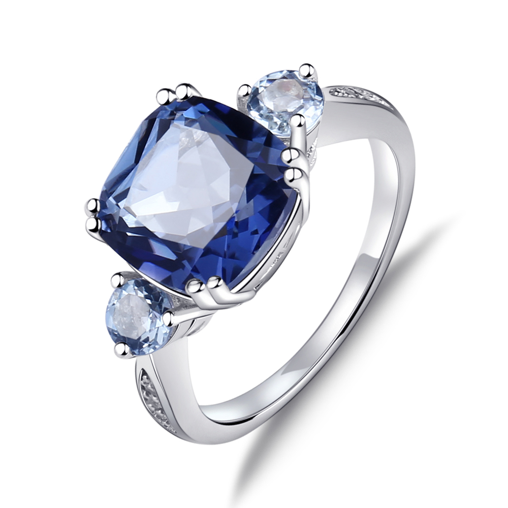 Gem's Ballet 5.22Ct Natural Iolite Blue Mystic Quartz Sky Blue Topaz Gemstone Ring For Women 925 Sterling Silver Fine Jewelry