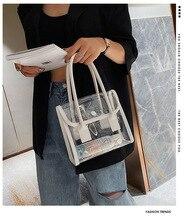 Новая летняя прозрачная сумочка небольшой свежий пляжная сумка популярные женщины мыть мешок прозрачный мешок