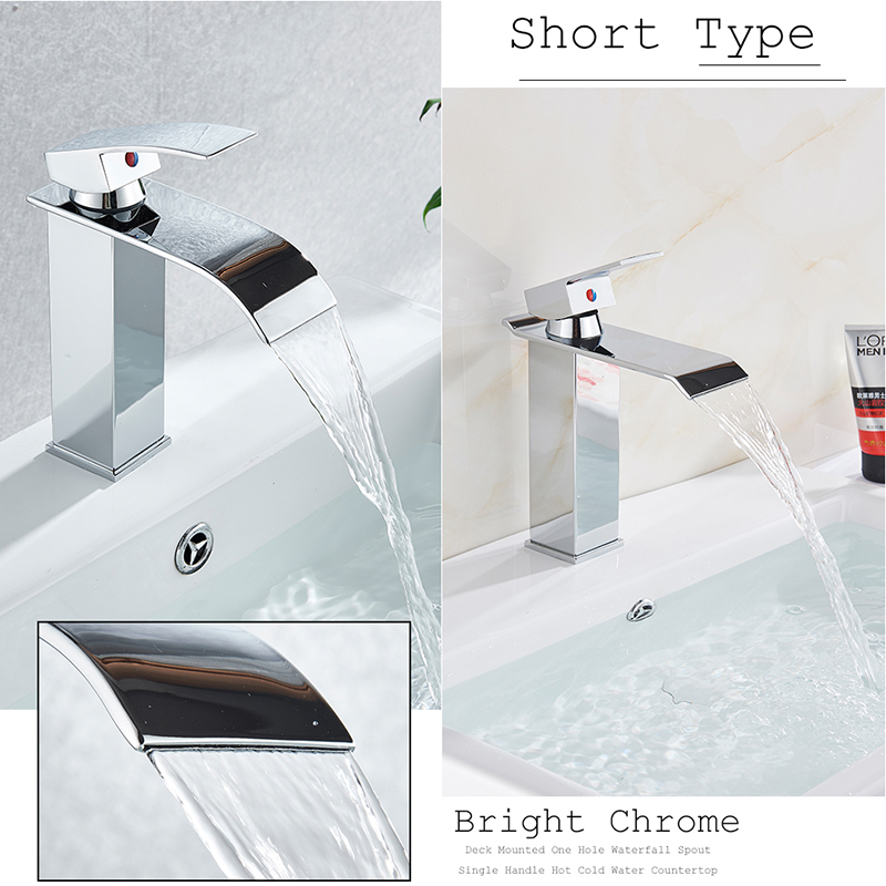 Hfdb222cb44f947fa9da736ee21131665g Rozin Hot cold basin faucet Waterfall Bathroom Vanity Sink Faucet Single Lever Chrome Brass Hot and cold Basin Washing Taps