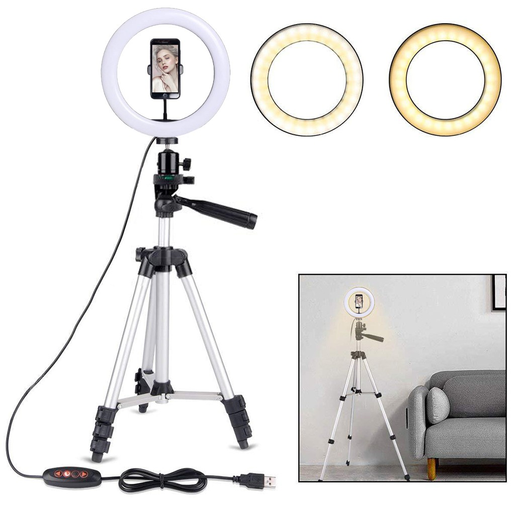 cheapest 4 In 1 Vlogging Live Broadcast Smartphone Video Rig  4 6 Inch Ring Led Video Light   Microphone Tripod Mount Tripod Head