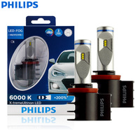 Philips X treme Ultinon LED H8 H11 H16 12V 12834UNIX2 6000K Car LED Fog Lamps Auto Headlight +200% More Bright (Twin Pack)