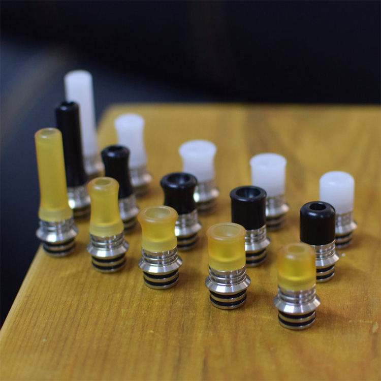 High End 510 MTL Drip Tip Set With 6 AFCs PEI POM Yellow Black White Vape Tips For 510 RDA RTA Vape Tank Ecig Accoessories