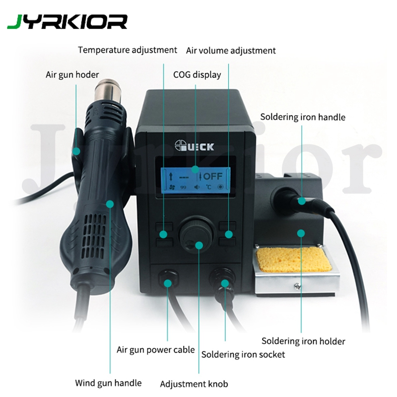 QUICK 715 2 In 1 Rework And Soldering Station Equal To QUICK 2008 Air Gun And QUICK 936A Soldering Iron Combination