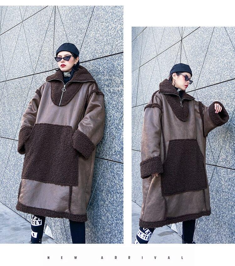 Женский Длинный пуловер из искусственного меха больших размеров, верхняя одежда, женская уличная куртка из овечьей шерсти с замшевой тканью, Толстая куртка с капюшоном в стиле панк - 6