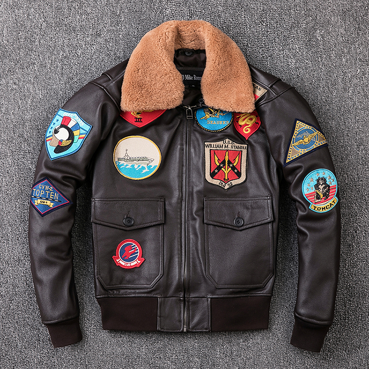 100% Genuine Leather Man A2 Pilot Jacket Tom Cruise Top Gun Air Force Cow Coat Brown Thick Cowhide Winter Motorcycle Jacket
