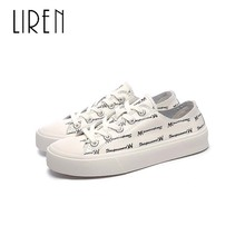 цена Liren 2019 Genuine Leather Casual Women Sneakers Sweet Spring/Autumn Round Toe Lace-up Flat Heels Comfortable Breathable Shoes