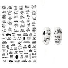 The New 3D Nail Sticker English Letter stickers for nail Foil Love Heart Design Nails Accessories Fashion Manicure Sticker