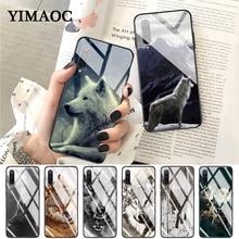 YIMAOC wolf animal Glass Case for Xiaomi Redmi 4X 6A note 5 6 7 Pro Mi 8 9 Lite A1 A2 F1