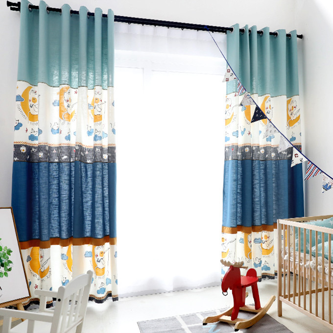 Korean Mediterranean Children's Cartoon Cotton And Hemp Stitching Semi-shading Curtains For Living Dining Room Bedroom.