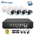 Techage 4CH 1080N AHD DVR комплект 720P CCTV система 1MP ИК ночного видения для помещений и улицы камера видеонаблюдения 1 ТБ HDD